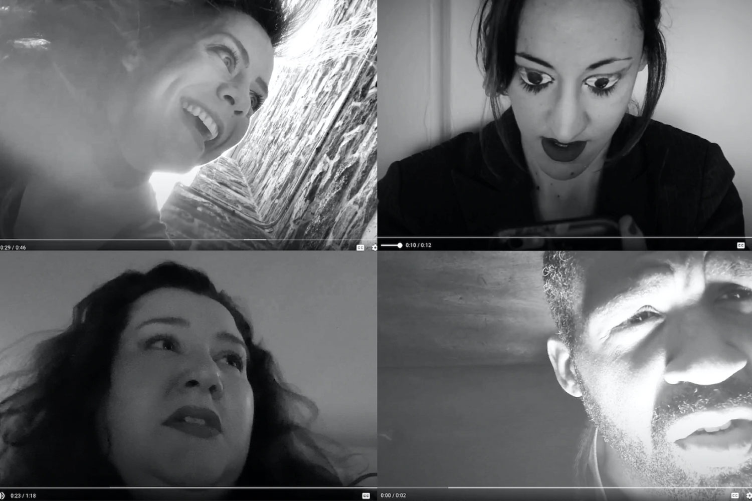 a collage of four macbeth characters on zoom