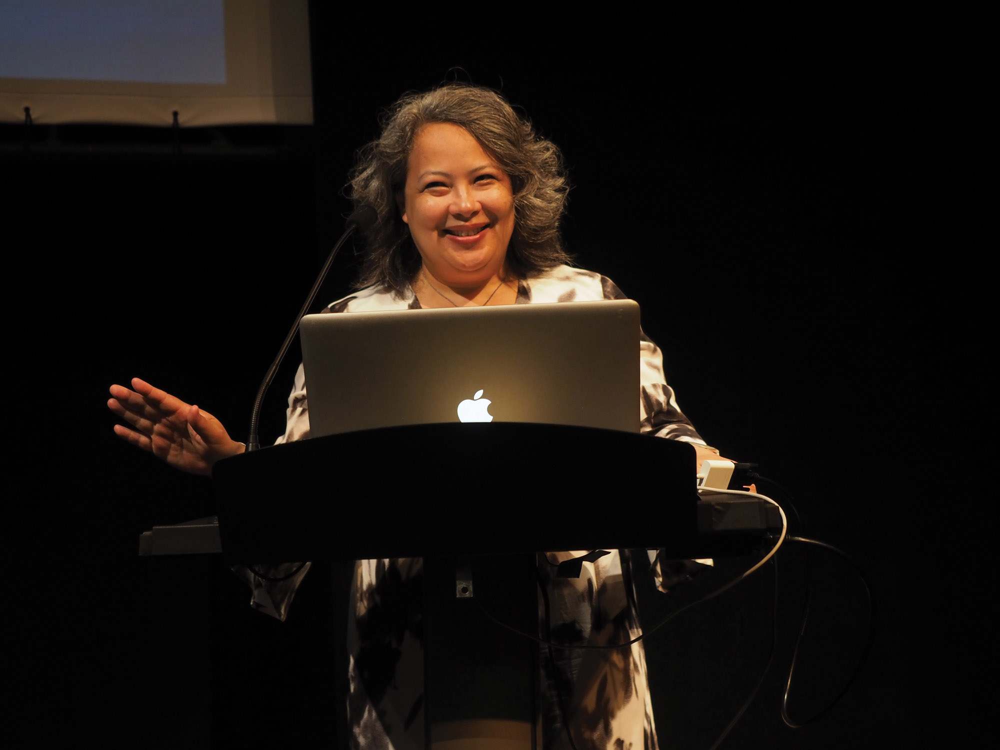 abagail dekosnik on stage during her talk