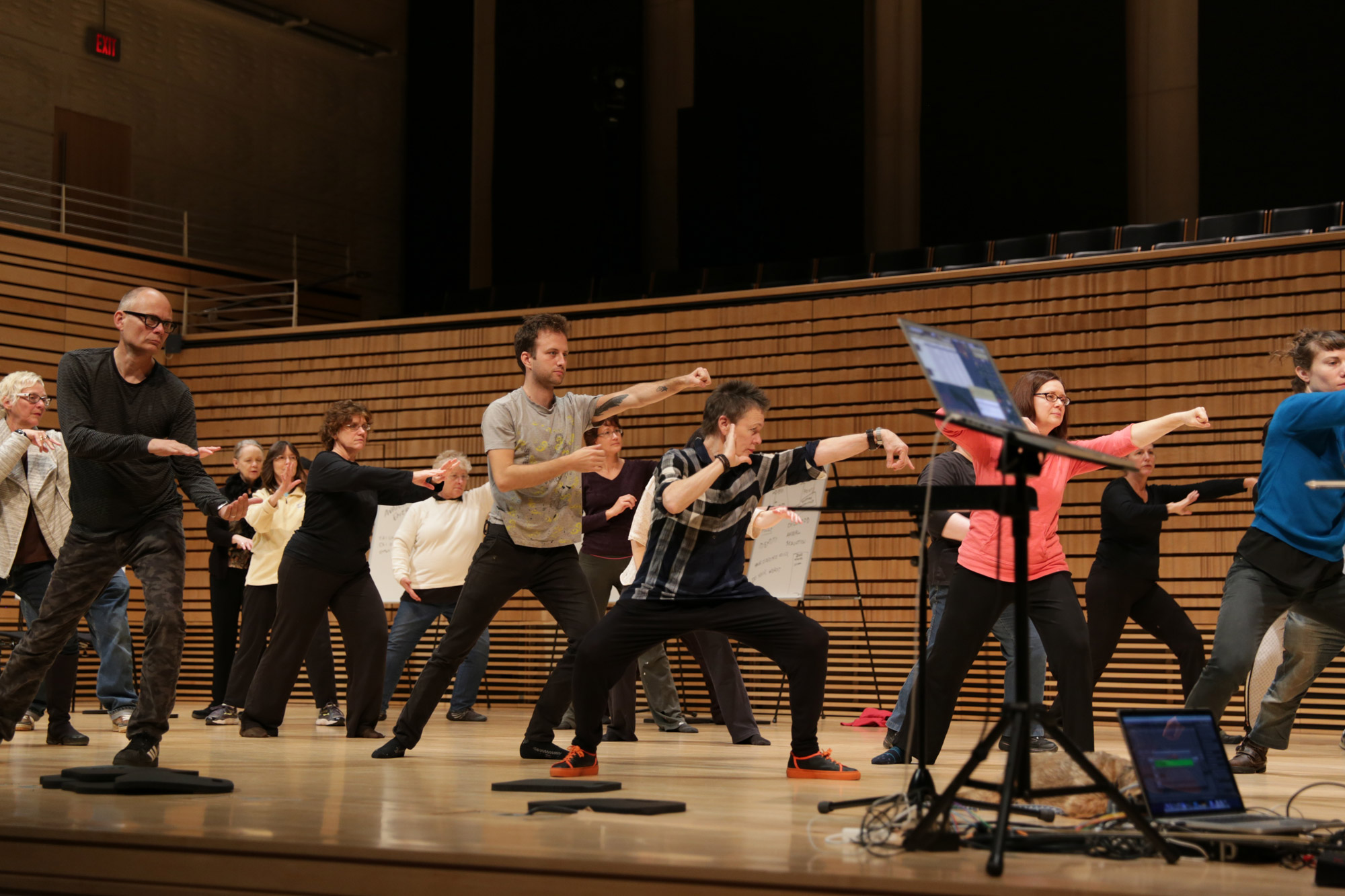 a group practices tai chi with laurie anderson on EMPAC's concert hall stage.