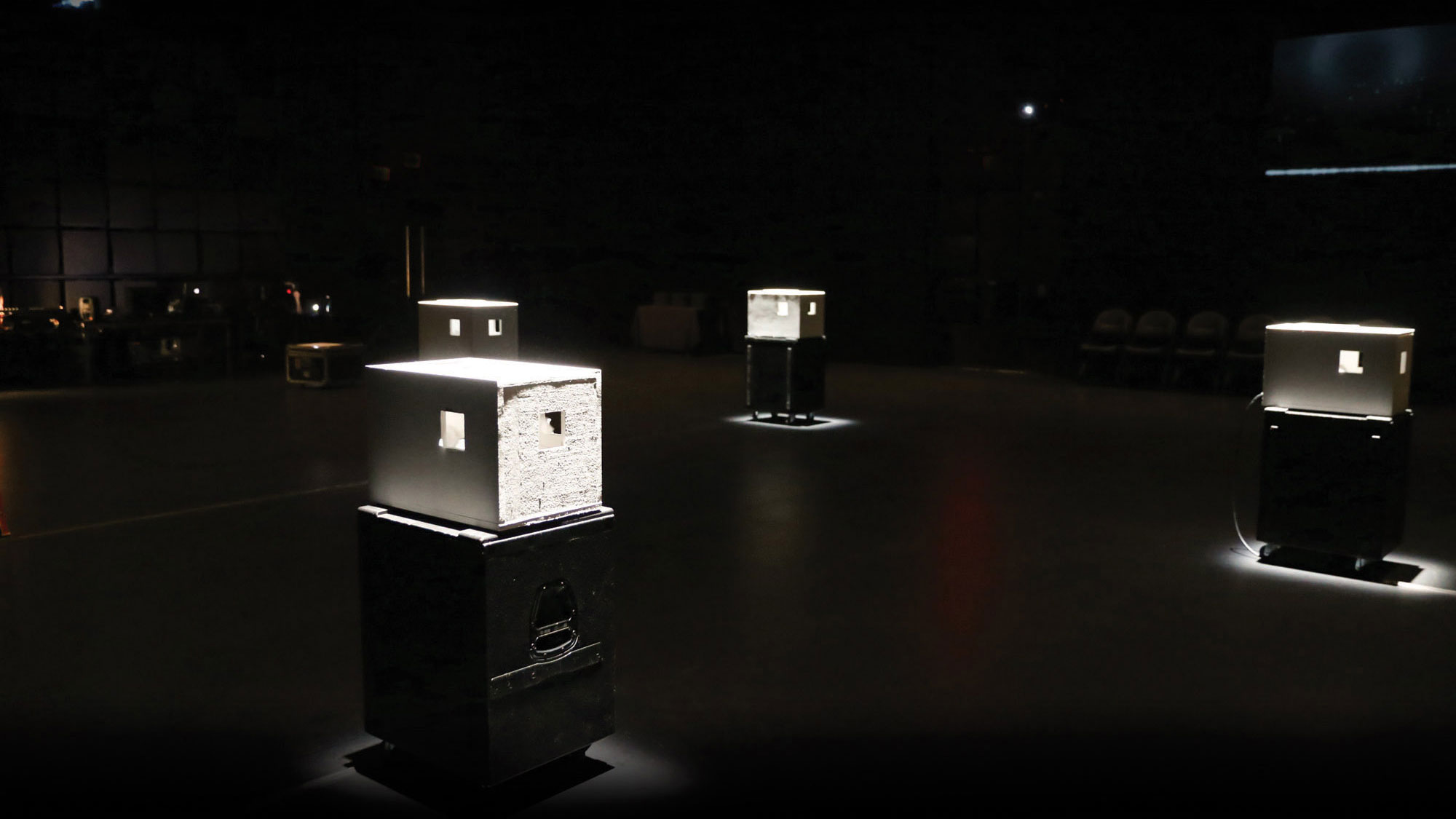 white boxes in studio 1