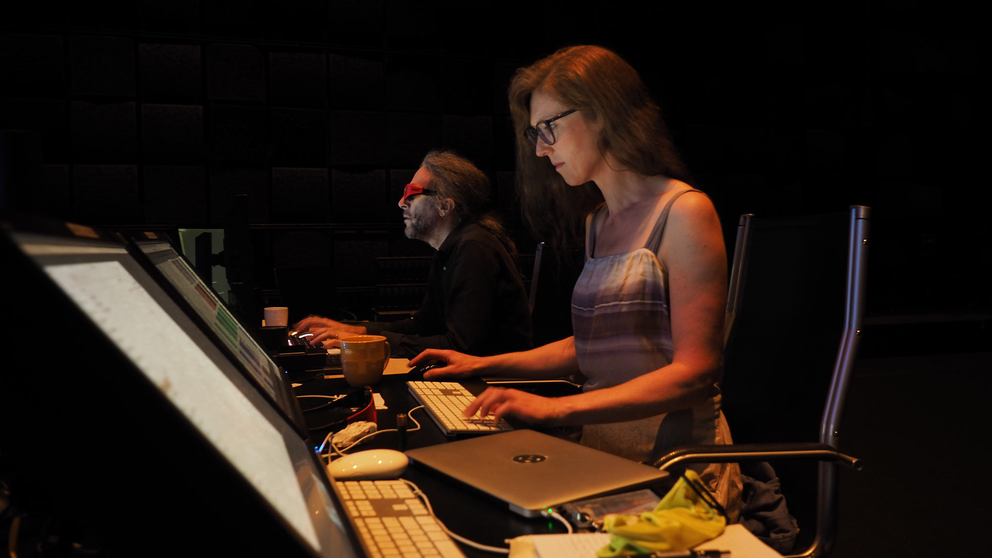 Natasha Barrett and Marc Downie working on Innermost at EMPAC during the Spatial Audio Summer Seminar in 2019.