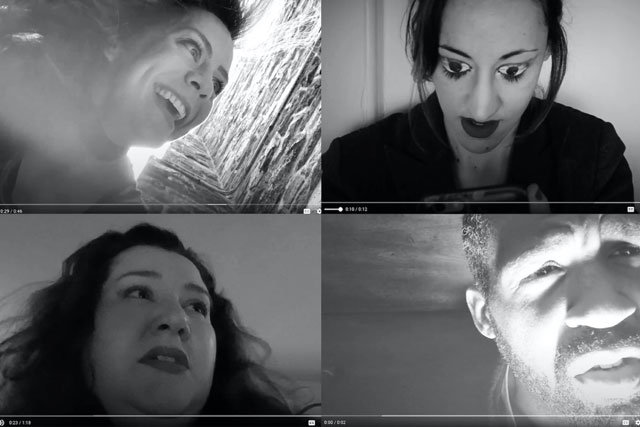 a collage of four characters from macbeth on zoom