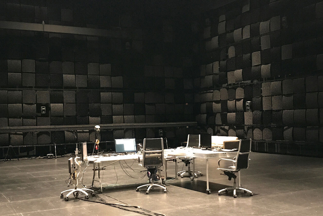 black box theater with tech table