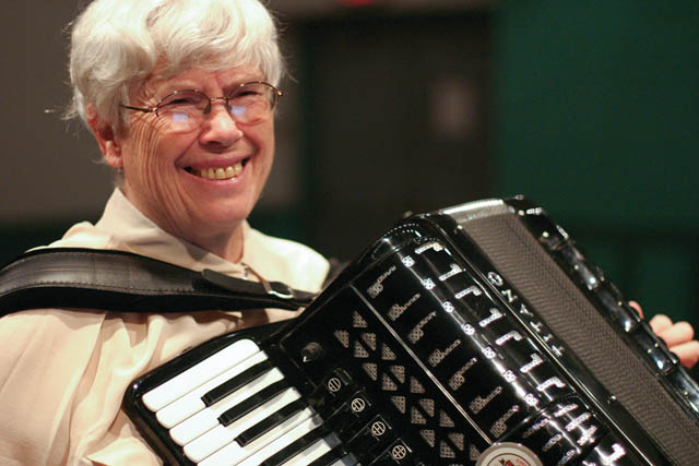 Pauline Oliveros with her accordion.