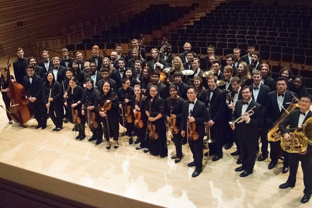 student orchestra on stage of concert hall at EMPAC