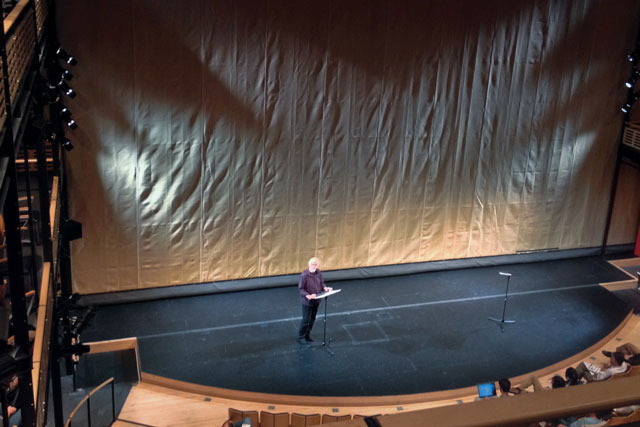 Johannes Goebel giving his talk on the Theater stage.