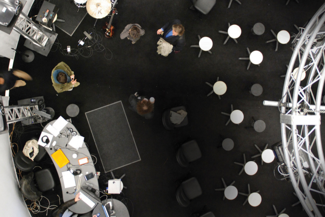 looking down into studio 1 from the ceiling grid