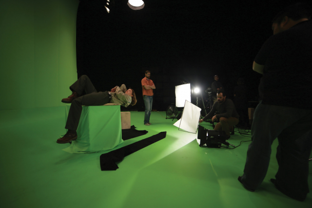 the artist in studio 2 during a film shoot.