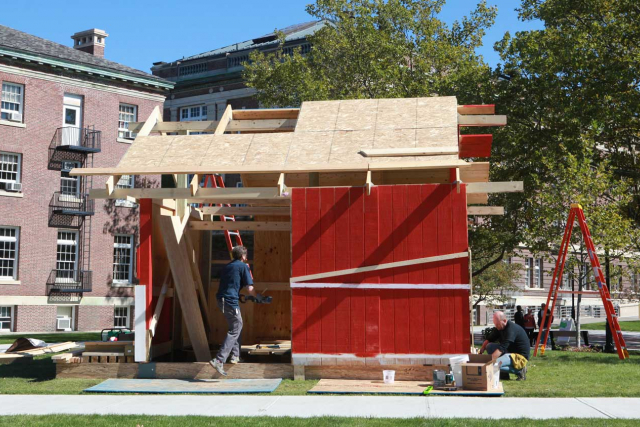 a barn structure being built on the RPI campus