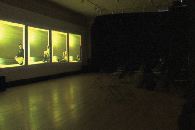 four screens in a gallery