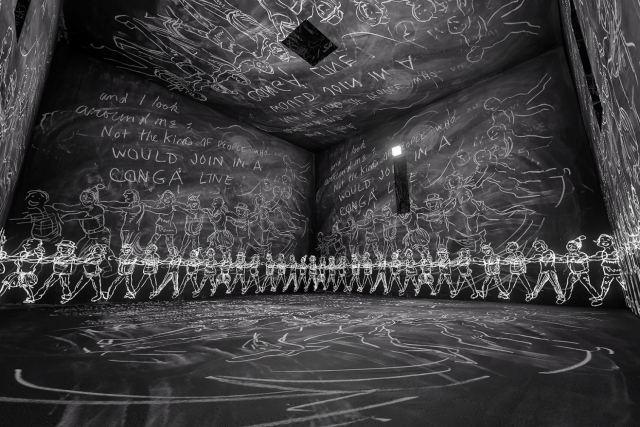 chalk figures in a VR environment