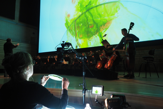 an ensemble with an image projected behind them.