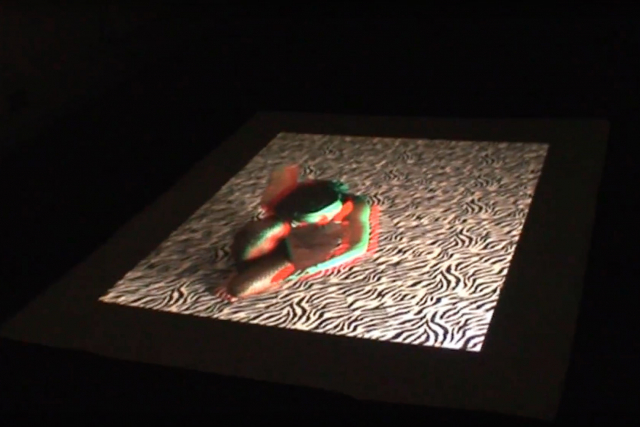a projection of a dancer