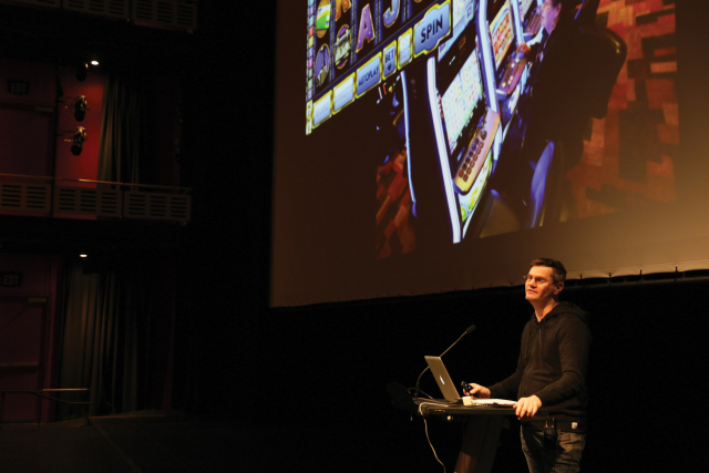 Patrick Keilty in the theater in 2018