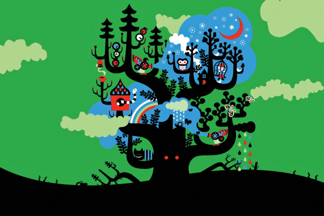 an illustrated tree with animals i it
