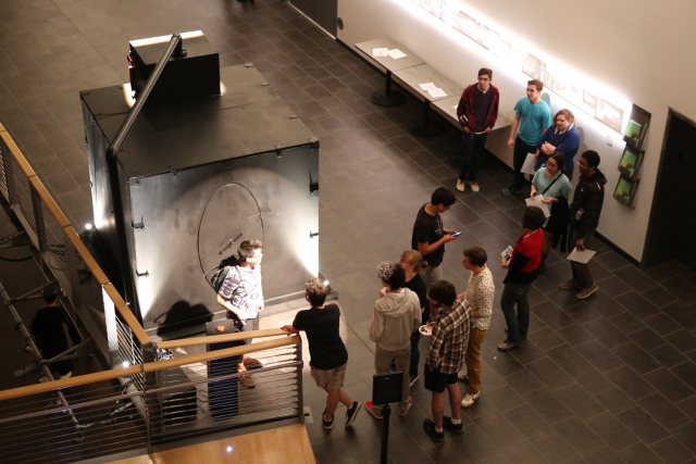 Students lined up to experience the SubBasPrototon on EMPAC's Mezzanine