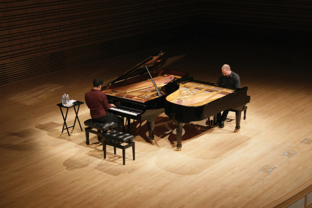 two pianos on the stage